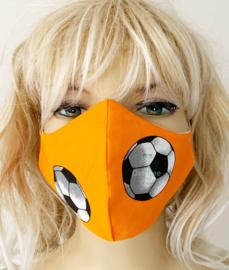 Koningsdag / EK mondkapje oranje met voetbalprint  (m/v)