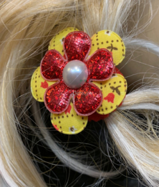 Haarelastiekje met bloemetje rood wit geel