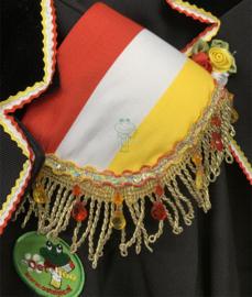 Epauletten  rood wit geel met gouden franjeband en kraaltjesband