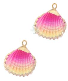 Schelp hanger specials Kokkel roze goud