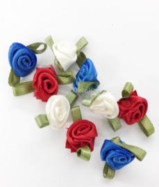Set van 9 satijnen mini roosjes rood wit blauw