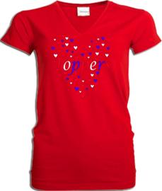 Toppers  in Concert 2019 t-shirt dames rood V hals met rood wit blauwe hartjes