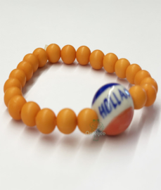 Armband oranje met rood wit blauwe Holland kraal