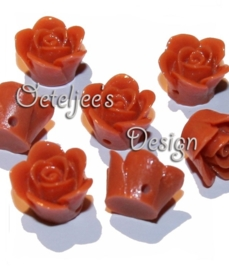 Acryl kralen Roosje met rijggat oranje bruin