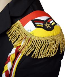 Epauletten Oeteldonk rood wit geel met wings emblemen en goud franje