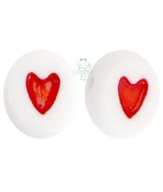 Letterkraal wit met rood hartje