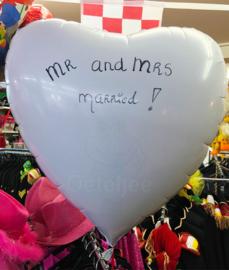 Folie ballon hart wit beschrijfbaar (80cm)