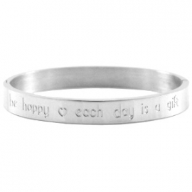 Stainless steel Armband met tekst  'be happy ♥ each day is a gift'