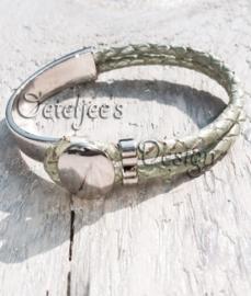 Armband metaal / green metallic leer