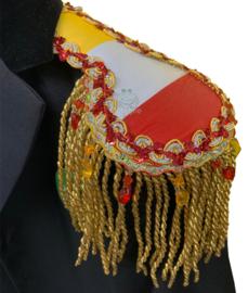 Epauletten luxe rood wit geel met goud franje, kraaltjes- en paillettenband