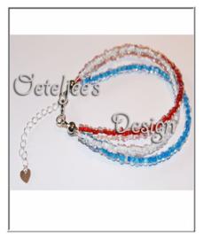 Enkelbandje - Rood wit blauw rocailles glaskraaltjes