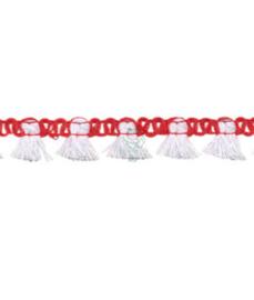 Flosjesband rood wit 15 mm