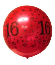Sweet 16 megaballon metallic rood (90 cm)