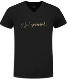 """Zwart Chateau Meiland t-shirt met gouden glitter opdruk """"Wat goéééééd"""""""