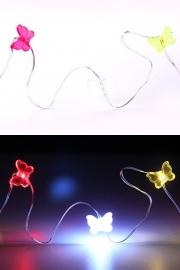 Oeteldonk LED verlichting snoer vlinders rood/wit/geel
