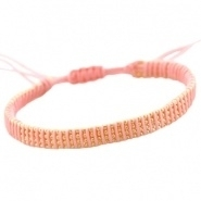 Armbandje 4 line ball chain roze peach