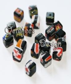 Glaskralen - Millefiori blokje zwart 6 mm