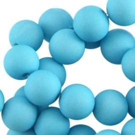 Acryl kralen Mat Aquamarine blauw 8 mm rond
