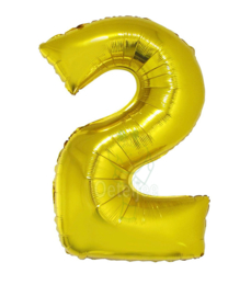 Folie ballon goud cijfer 2 (100 cm)