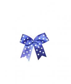Strikje satijn blauw met witte stippen