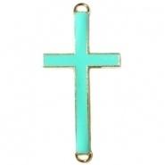 Bedel goud 2 ogen kruis Diep turquoise groen