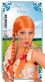 Pruik oranje met vlechten Pippi Langkous
