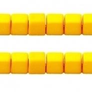 Acryl kralen kubus Warm geel