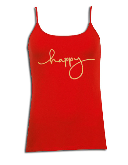 """Spaghetti top rood met gouden glitter opdruk """"happy"""""""