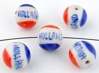 Porseleinen kraal rond 'Holland' ± 16mm