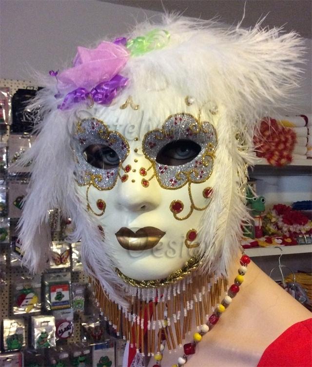 Venetiaans oogmasker wit met veren fantasie