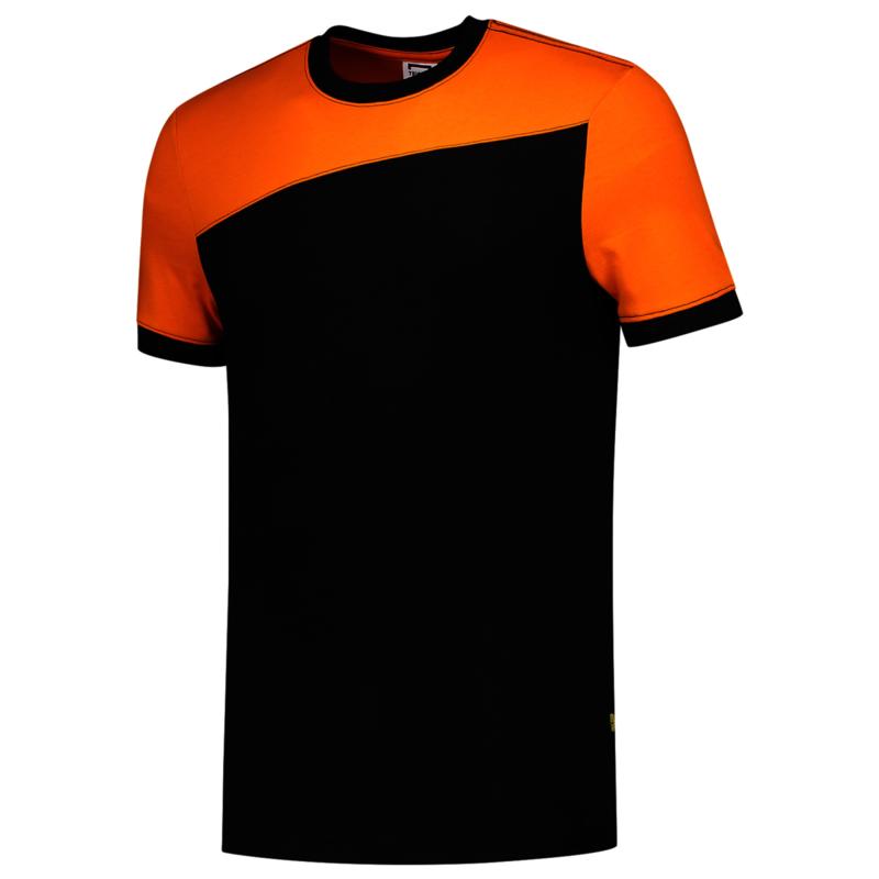 Koningsdag t-shirt bicolor oranje/zwart met eigen bedrukking