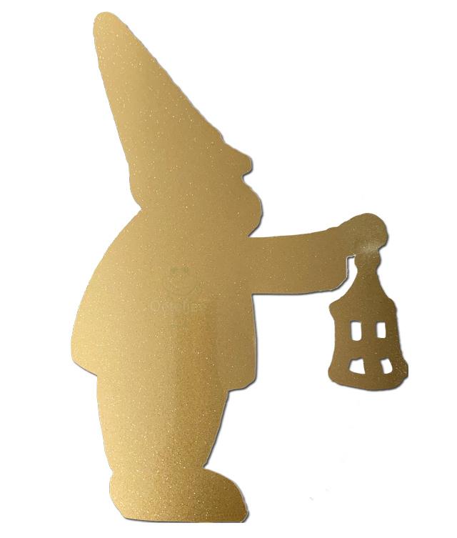 "Raam / muur sticker ""kabouter met lantaarn"" goud glitter A4"