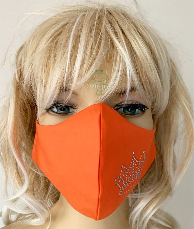Oranje Koningsdag / EK mondkapje met strass kroontje (m/v)