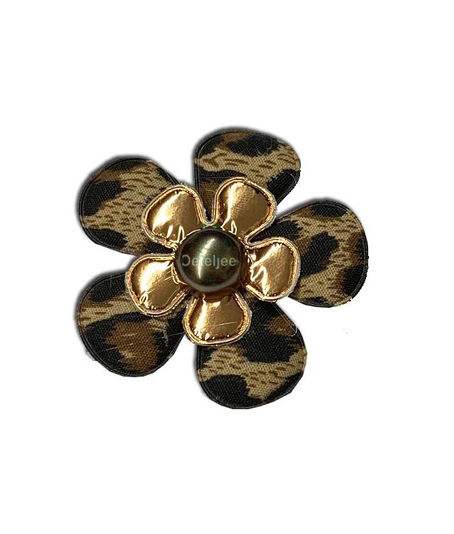 Corsage bloem panterprint/goud