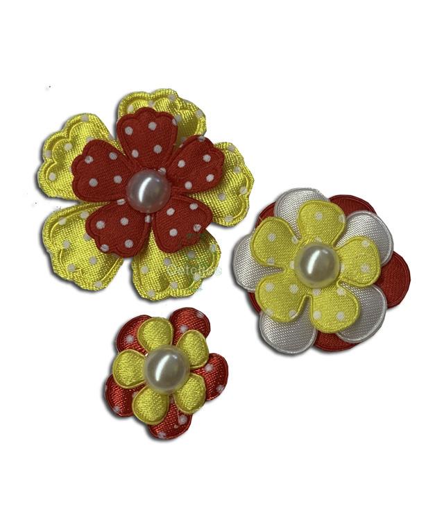 Voordeelset 3 x corsage bloem Oeteldonkse kleuren rood wit geel
