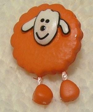 Kinderknopen - Schaapje oranje