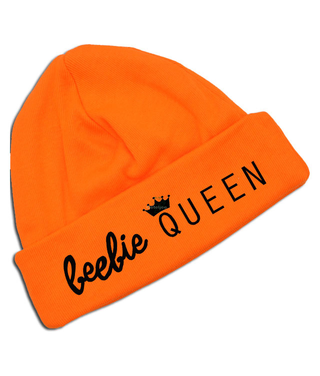 "Oranje Koningsdag babymutsje "" beebie Queen"""
