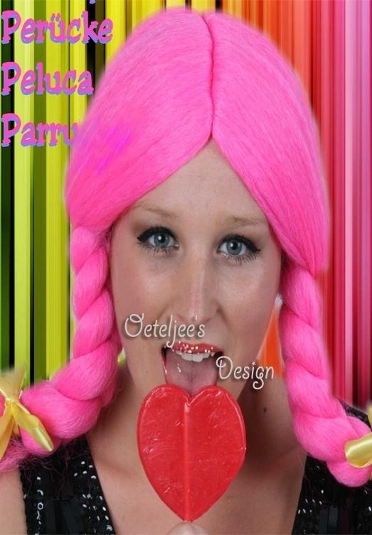 Pruik pink met vlechten Pippi Langkous