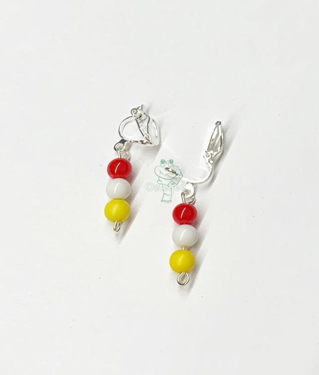 Oorbellen Oeteldonk hanger rood wit geel met clip