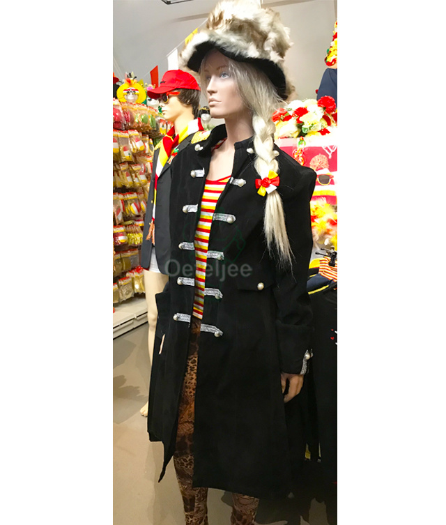 Barok jas lang zwart-zilver (m/v)