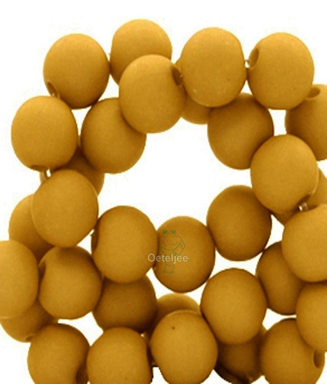 Acryl kralen mat rond 8mm okergeel