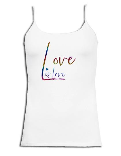 """Spaghetti top wit roze maandag / gay pride en rainbow glitter tekst """"Love is love """""""