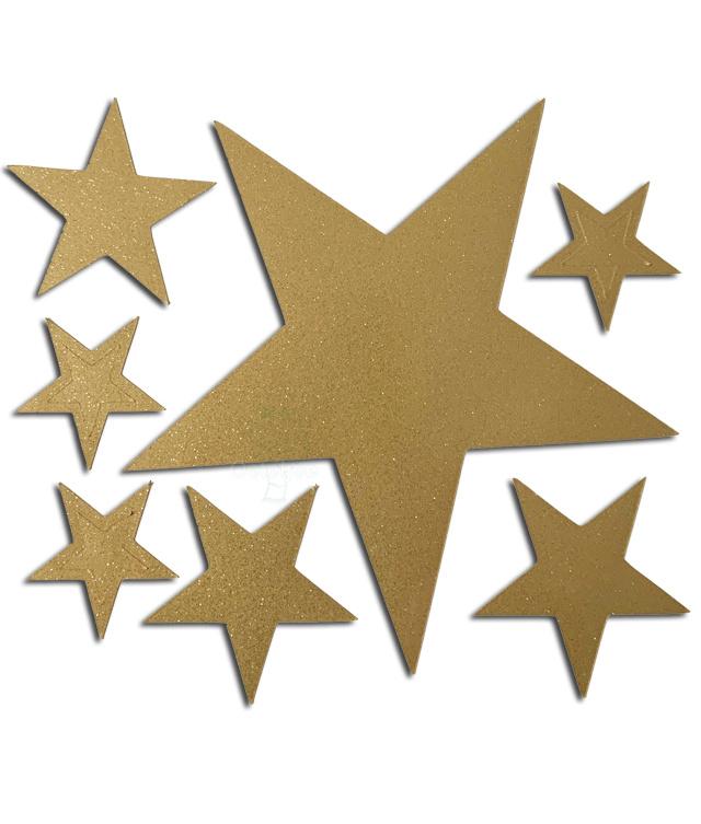 """Raam / muur sticker """"sterretjes"""" goud glitter no2"""