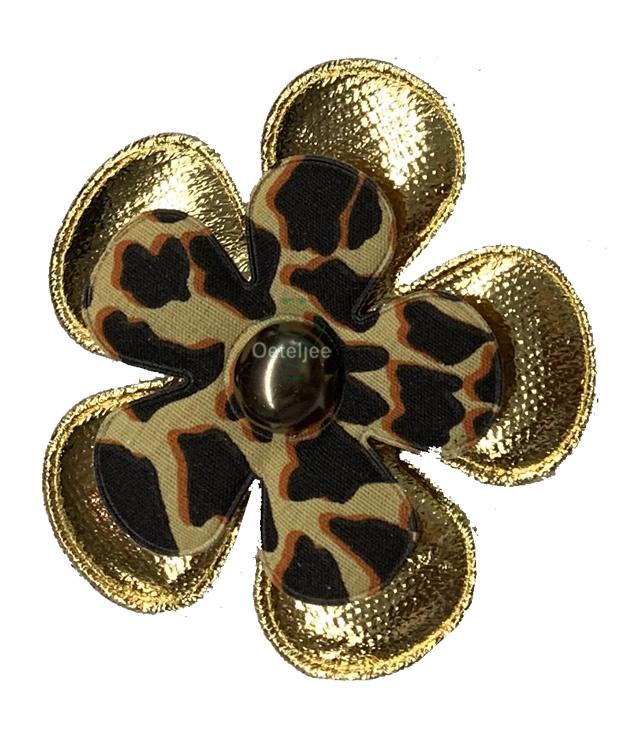 Corsage bloem goud / panterprint