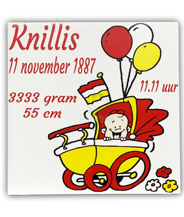 """Oeteldonks geboorte tegeltje """"Knillis"""""""
