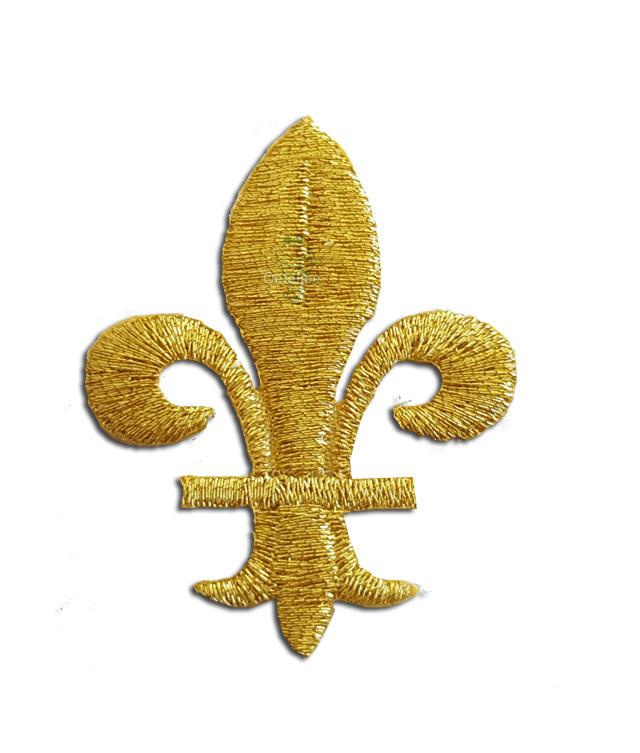 Geborduurde gouden franse lelie
