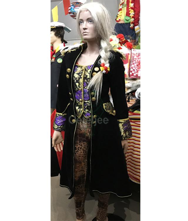 Uniformjas lang zwart-goud