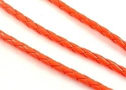 Imitatieleer koord oranje gevlochten ± 4,5mm