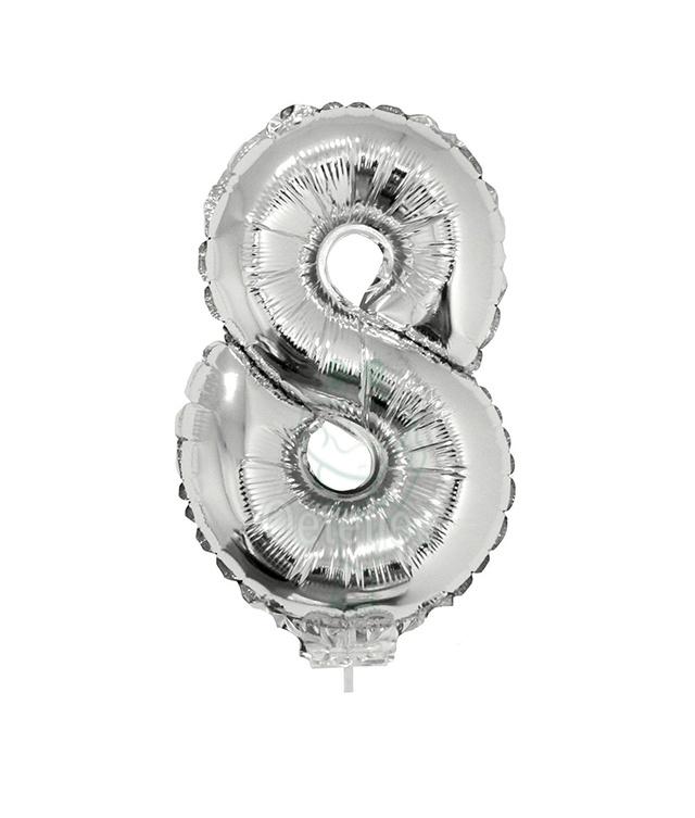 Folie ballon zilver cijfer 8 (41 cm)