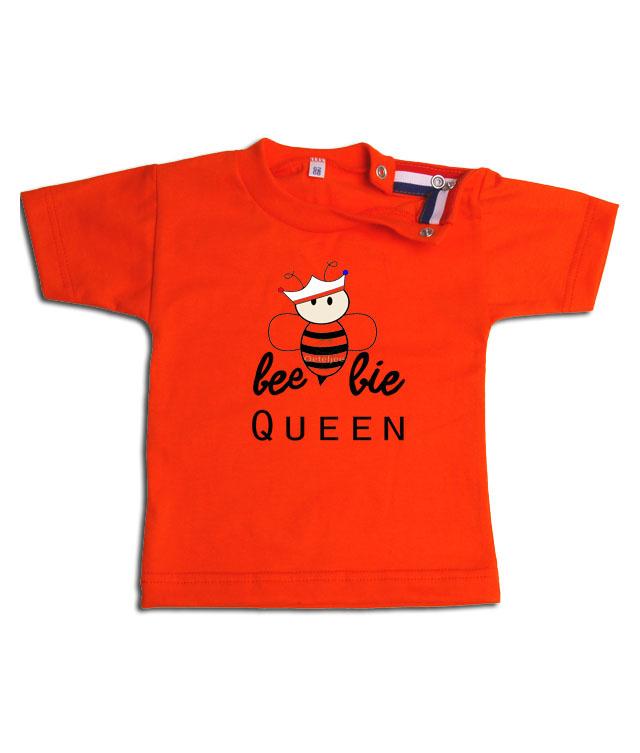 Oranje Koningsdag baby shirt meisje opdruk beebie Queen mt 62/68
